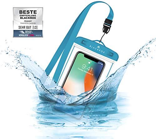 BLACKROX wasserdichte Handyhülle - Handyschutz Wasserfeste Handytasche Cover Beutel Beachbag Tasche Handy Hülle Waterproof Case iPhone X/XS 8 7 6s Samsung S10 S9 S8 S7 (Blau)