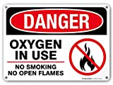 Danger Oxygen in Use No Smoking No Open Flames Sign - 14' x 10' - .040 Rust-Free Metal - Made in USA - UV Protected and Weatherproof - 21156E2-A4