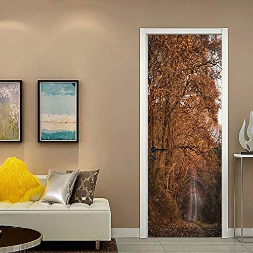 DFKJ Pegatinas de Puerta de Paisaje crepuscular para Sala de Estar Dormitorio Papel Pintado Autoadhesivo decoración del hogar Mural Impermeable calcomanía A15 86x200cm