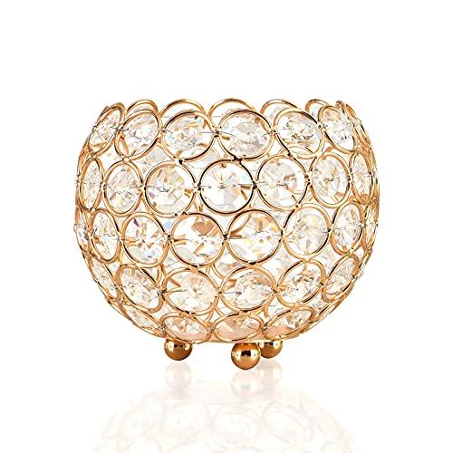 Portacandele in cristallo per tè chiaro Candelieri in metallo dorato per centrotavola altezza 9,5 cm per la decorazione dell'ufficio della festa della casa di nozze (M)