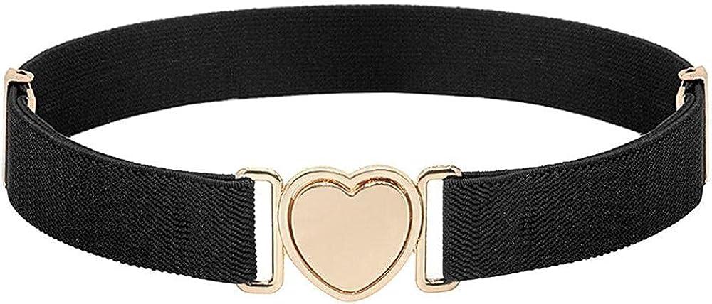 Kids Nickel Free Blets, Alloy Canvas Girl Punch-free Waistband Heart Shape Buckle Children Stretch Belts Waist Belt