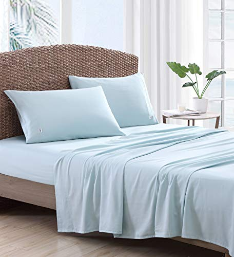 Tommy Bahama | Island Retreat Collection | 4-Piece 100% Cotton Sheet Set Bedding, Cool, Crisp, and Lightweight, Machine Washable for Easy Care, Queen, Medium Blue