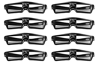 Goswot 144Hz Rechargeable DLP Active Shutter Eyewear for Optoma Acer Vivitek Dell LG and All The Other DLP-Link Projectors(Pack of 8)