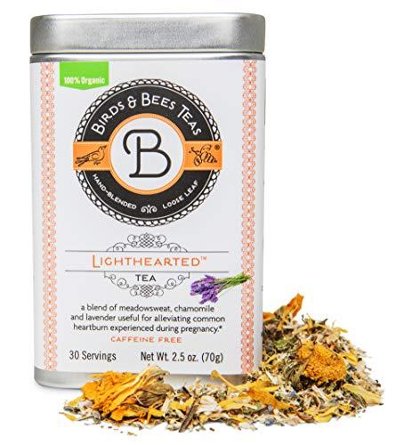 Birds & Bees Teas - Organic Heartburn Relief for Acid Reflux and Pregnancy Heartburn Tea - Lighthearted Tea is a Delicious Natural Remedy for Pregnancy Heartburn Relief, 30 Servings, 2.5 oz