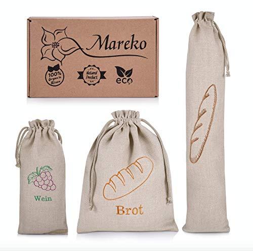 Mareko Bolsa para el pan, bolsa de lona, bolsa para el pan, bolsa para el almuerzo, bolsa para el vino, bolsa para botellas con cordón, reutilizable, juego 3 en 1