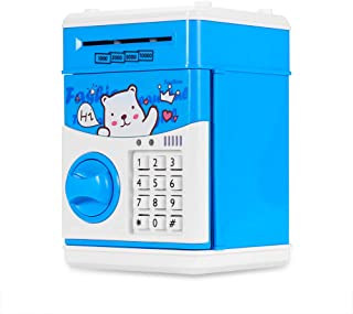Vingtank Coin Bank for Kids, Electronic Password Money Saving Box Cash Coin Can ATM Bank Safe Box Automatic Deposit Banknote with Smart Voice Prompt