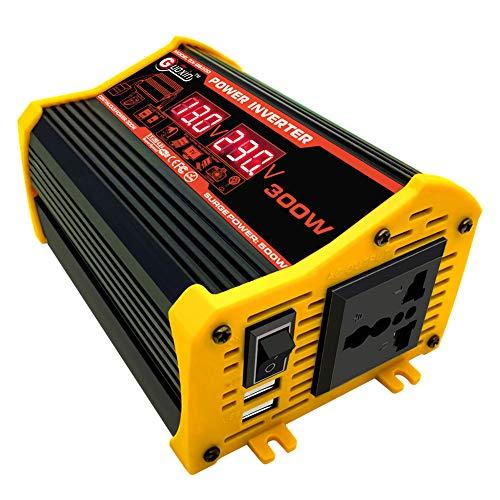 Inversor de energía 300W coche DC 12V a 220V AC convertidor con cargador de coche dual USB adaptador de pantalla LED