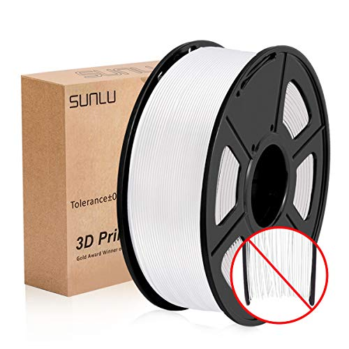 PLA Filament 1.75mm, SUNLU PLA plus Filament for 3D Printer, Dimensional Accuracy +/- 0.02 mm, PLA+ White 1KG