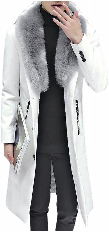 GenericMen Generic Men's Thick Long Windbreaker Faux Fur Collar PU Faux Leather Overcoats