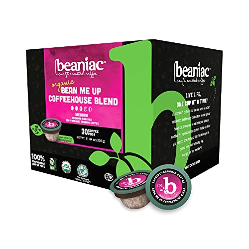 beaniac Organic Bean Me Up Coffeehouse Blend| Medium Roast, Single Serve Coffee K Cup Pods | Rainforest Alliance Certified and Organic Arabica Coffee | 30 Compostable, Plant-Based Coffee Pods