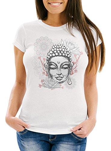 Neverless Damen T-Shirt Buddha Buddha-Kopf Mandala Slim Fit weiß M