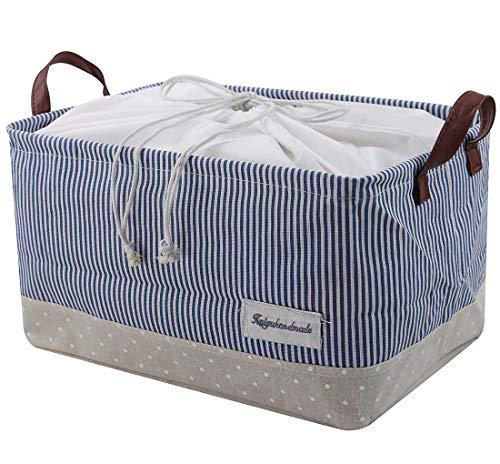 40.5 * 26 * 22cm, Canasta de almacenamiento plegable con asas de algodón con asas, Contenedor de almacenamiento para juguetes, revistas, Cosméticos, etc., azul
