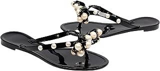 Women Summer flip Flops Sandals Jelly Ribbon Bow Beach Flat Sandals Jelly Slipper Dress Shoes