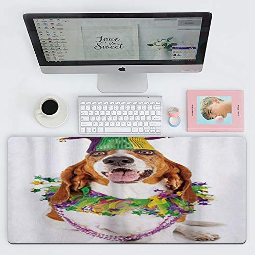 FAQIMEI Alfombrillas Gaming Ordenador Pad Feliz Sonriente Perro Basset Hound con un Collar de Cuentas de Guirnalda con Cuello de buf Máxima Precisión con Base de Caucho Natural, Máxima Comodidad