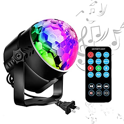 Disco Ball LED Party Lights-TTF Sound Activated LED RGB Strobe Light 7 Color Modes Party Supplies for Halloween Dance Party DJ Club Karaoke Decoration by