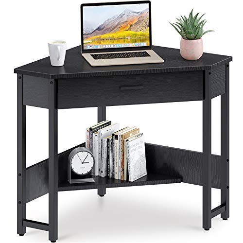 ODK Corner Desk Triangle Computer Desk Corner Vanity with Large Drawer & Storage Shelves, Corner Writing Desk for Workstation, Black