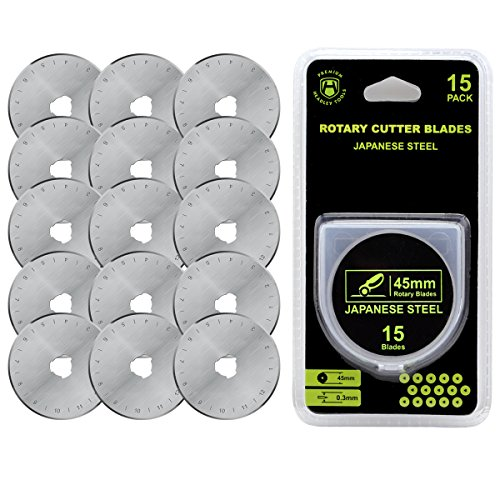 Headley Tools 45mm Rotary Cutter Blade(Pack of 15) Fits Olfa Fiskars Turecut (45MM, Quantity 15pc)