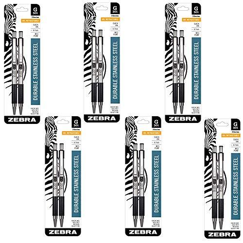 Zebra Pen 41312 G-301 Stainless Steel Retractable Gel Pen, Medium Point, 0.7mm, Black Ink, 2-Count (6 PACK)