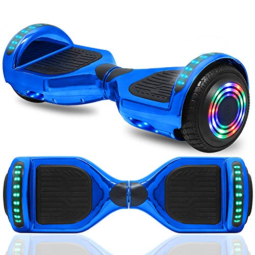 cho 6.5  inch Hoverboard Electric Smart Self Balancing Scooter with Built-in Wireless Speaker LED Wheels and Side Lights Safety Certified (Chrome Blue)