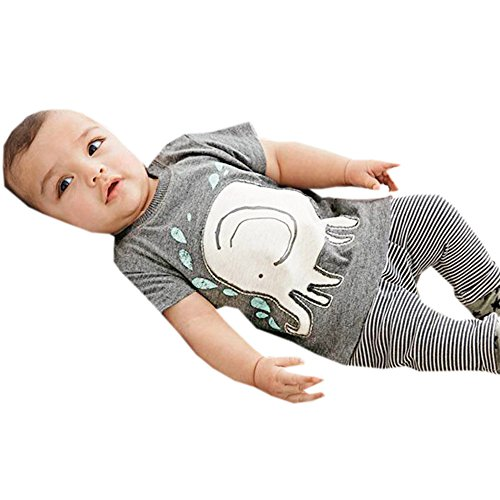 Leedford Baby Boys' Winter Cotton Long Sleeve Outfits Set Elephant Print Tops+Stripe Pants (Gray, 6M)