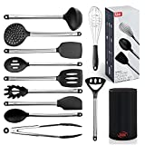 Kaluns 12 piece Stainless Steel and Silicone Kitchen Utensils set, black block holder - Non-stick and Heat resistant Cooking Supplies - New Chef's Spatula Tools Cookware Collection - Best Holiday