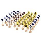 YLXAJKJGS-XCH 50 unids/Set Bloques de construcción de señales de tráfico de Madera de Doble Cara Juguetes neutrales para niños Juguetes de Desarrollo Juguetes preescolares