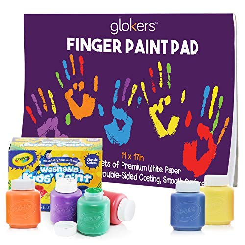 glokers Finger Paint Paper Pad and 6 Non-Toxic Washable Crayola Paint - Premium Toddler Arts & Crafts Painting Supplies 11 x 17 Inches, 50 Sheets of Thick White Paper