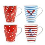 Set de 4 Tazas Decorativas Marineras. Mugs. Gres. 11 x 12 x 9 cm.