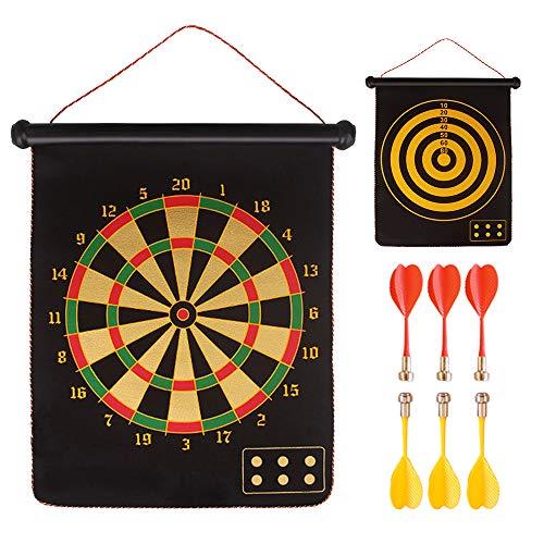 XGzhsa Magnetisches Dartscheiben-Set, Dartspiel, hängendes doppelseitiges magnetisches Dartziel Kinder-Sicherheitspfeilspiel für Erwachsene mit 6 Pfeilen, ideal für drinnen und draußen