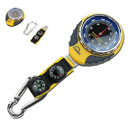 ZUEN Multifunktionales Outdoor Barometer, 4 in 1 Kompass Höhenmesser Barometer Kompass Thermometer mechanisch für Karabiner Camping Wandertasche