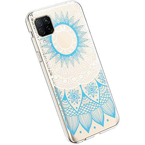 Ysimee Compatible avec Huawei P40 Lite Coque en Silicone Élégant et Mignon avec Conception Peinte TPU Ultra Resistant Souple Housse Flexible Antichoc Bumper Case Ultra Mince Léger Cover,Bleu