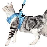 Dotoner Set aus Katzengeschirr und Leine mit ultraleichtem Kätzchenhalsband weich und bequem Laufjacke Laufdämpfung entweichsicher geeignet für Kätzchen und Kaninchennachwuchs(M,Blue)