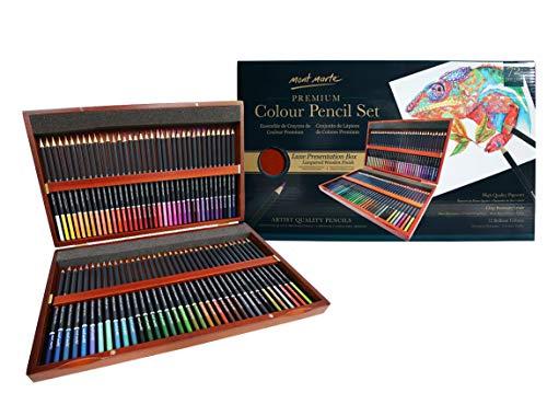 MONT MARTE Lapices de Color Deluxe - 72 unidades de Lápices de Color en una Elegante Caja de Madera - Crayones Ideales para Dibujos a Color - Perfecto como Regalo