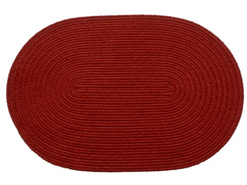 Solid Color Braided Rugs 2 by 3-feet Brilliant Red