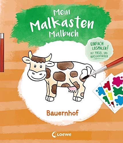Mein Malkasten-Malbuch - Bauernhof: Beschäftigungsbuch mit integriertem Pinsel und Wasserfarben für Kinder ab 3 Jahre