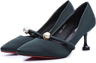 YIXIN 07612 春 スムース レザーベルト バックル パール ファイン 靴のかかと 浅い 口 さんハイヒール (色 : 緑, サイズさいず : EU36/UK4/CN36)