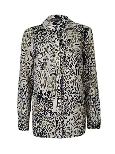 Elementz Women's Nature Print Roll-Tab Buttoned Blouse (S, Black/White/Mink)