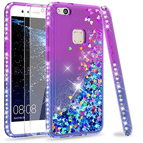 LeYi Custodia Huawei P10 Lite Glitter Cover con Vetro Temperato [2 Pack],Brillantini Diamond Silicone Sabbie Mobili Bumper Case per Custodie Huawei P10 Lite Donna ZX Purple Blue Gradient
