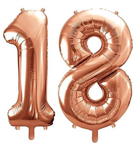 Unbekannt Ballon XXL en Aluminium/Chiffre 18 en Or Rose/Balle d'anniversaire 18 Ans Anniversaire/Anniversaire/Alter/Déco Déco Pleine an/Année