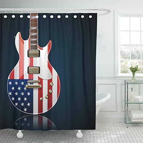 JOOCAR Design Duschvorhang, Musik E-Gitarre mit amerikanischer Flagge, Country-Band Rock Blues Concert Jazz schwarz, wasserdichter Stoff Stoff Badezimmer Dekor Set mit Haken