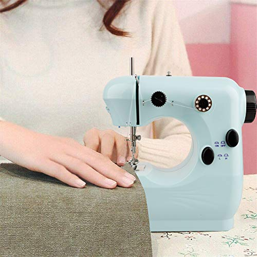 Famyfamy Máquina de coser con pedal, mini máquina de coser ajustable eléctrica portátil Máquina de reparación Máquina de coser de doble hilo bordado Overlock Hogar, Enchufe de la UE