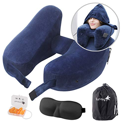 Travel Pillow Inflatable Neck Pillow,Airplane Neck Pillow Travel Neck Pillow with Comfortable Hood Suitable for Adult and Kids in Airplanes、Office Napping、Cars、Camping、Outdoors (Blue)