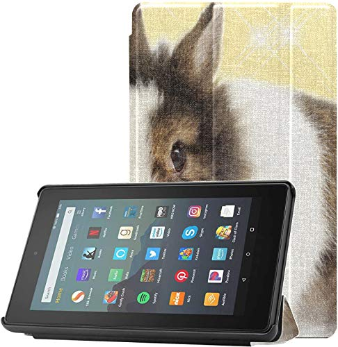Cover Fire7CaseProtector Tulip Flower Cute Rabbit Animal KindleFire7Case for Fire 7 Tablet (9th Generation, 2019 Release) Lightweight with Auto Sleep/Wake