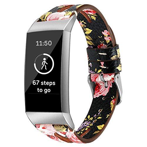 Correas de Reloj de Cuero Compatible con Fitbit Charge 4 / Charge 4 SE/Charge 3 SE/Charge 3, Chainfo Bandas de Reloj de Piel de Becerro auténticas de la Vendimia Hombres Mujeres (Pattern 5)