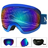 MOTOEYE Ski Goggles - Over Glasses Design Snow/Snowboard Goggle for Men,Women & Youth (100% UV Protection + Long-time Anti-Fog + Mirrored) (Blue)