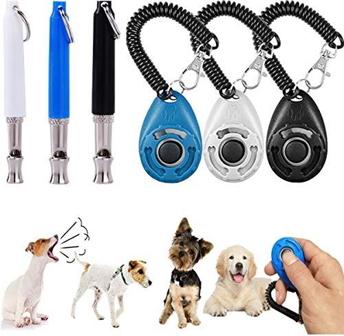 Liuer 3 Stks Ultrasone Hond Training Fluitjes met 3 Stks Hond Training Clicker om te stoppen Blaffen Handy Pocket Size Verstelbare Frequenties Hoge Pitch Fluitje voor Hond Kat Paard Recall en Blaffen Controle