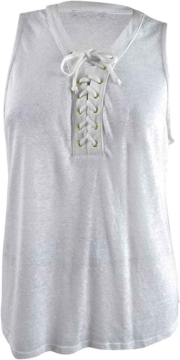 INC Womens Lace-up Top, Bright White XXL