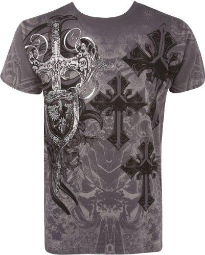 Sakkas TG527T Kreuz, Schwert und Schild Metallic Silber Geprägtes Baumwoll Herren T-Shirt - Charcoal/X-Large