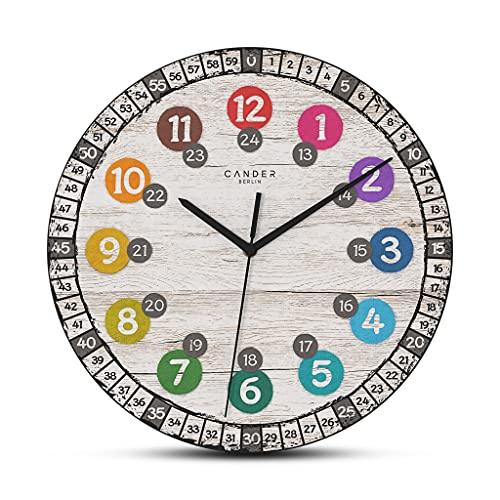 Cander Berlin MNU 7730 - Reloj de pared infantil (madera, silencioso, 30,5 cm, tablero DM, dial de aprendizaje, lectura de la hora en alemán)