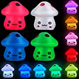 4 Pieces LED Mushroom Night Lamp Plug Cute Mini Lamp Night Light Decoration 7-color LED Lamp for Desk Bedroom Home Easter Birthday Dad Mother's Day Graduation